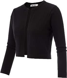 Women's 3/4 Sleeve Open Front Knit Cropped Bolero Shrug Cardigan Sweater