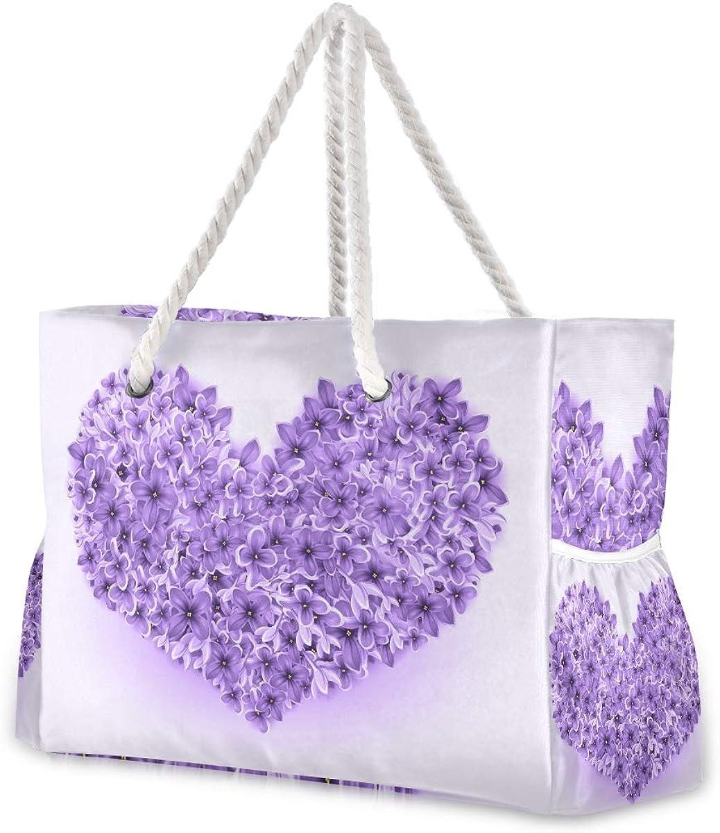 Purple Love Ranking TOP19 Petals Beach Tote Bag for Handbag 40% OFF Cheap Sale H Women Polyester