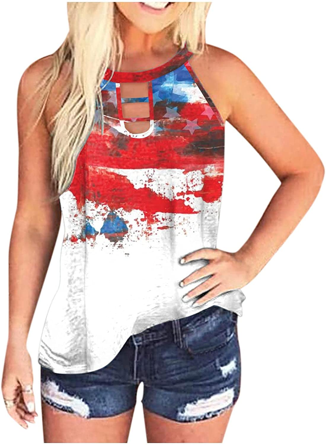 Women Tops Plus Size,AODONG Womens Crop Camouflage Top Fashion Printed Shirts Sleeveless Workout Blouse Loose Vest Soft Flag Tee
