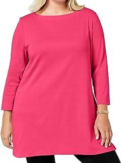 Karen Scott Women's Sweater Pink US Size 2X Plus Pullover Boat-Neck