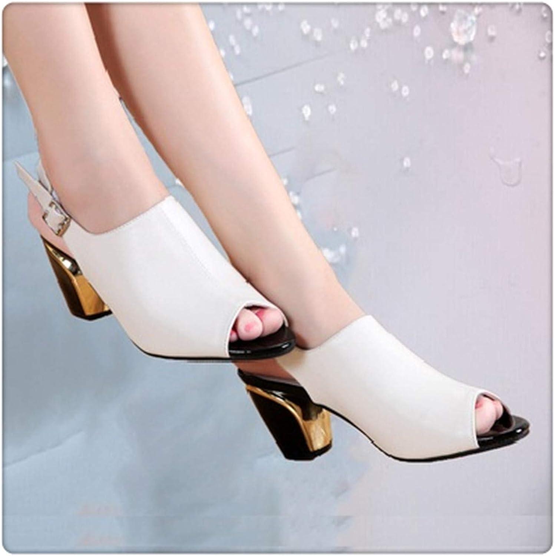 Yyixianma High Heels Sandal Women Leather Peep Toe Ladies Ankle-Strap Square Heels Sandals