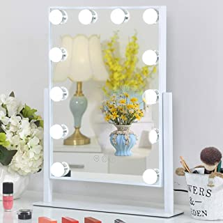 Hollywood Mirror with Lights,Makeup Vanity Mirror with Lights,Touch Control 3 Lighting Settings Bedroom Dressing Table Vanity Mirror with USB Cable (White)