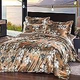 Venta De Fundas Nordicas,Caja de seda de seda 3D, ropa de cama fresca para la piel, cinturón de cama de cama doble de cama doble, juego de cuatro piezas sano respetuoso con el medio ambiente-D_Cama d