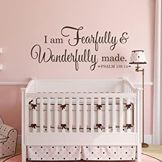 MairGwall Bible Verse I Am Fearfully and Wonderfully Made Psalm 139:14 Family Art Mural Scripture Sticker(Black,Medium)