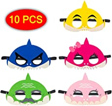 Palksky (10 pcs Little Shark Mask Set/Family Mask for Baby Kids Cosplay Party Favors Felt Half Mask Children Boys Girls Birthday Parties Supplies