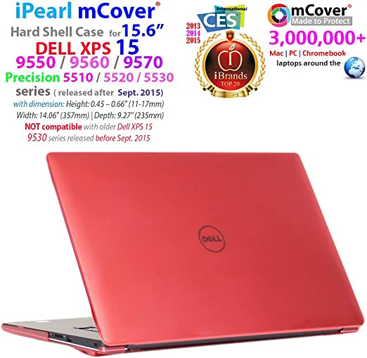 Ipearl Mcover Hard Shell Case For 15 6 Dell Xps 15 9550 Precision 5510 Series Released After September 2015 Laptop Computer Red