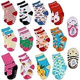 Lictin Rutschsocken Kinder Socken Baby Antirutsch Socken Antirutsch Babysocken für Baby 12-36 Monate Mädchen oder Jungen 14 Paare ABS Anti-Rutsch Socken