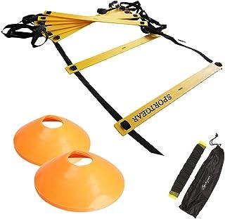 トレーニング ラダー 7m / 5m マーカー コーン 10個 セット ( サッカー など あらゆる スポーツ の 基礎 作りに ) 長さ 調節 可能 ( Sportgear ) 収納 袋 付