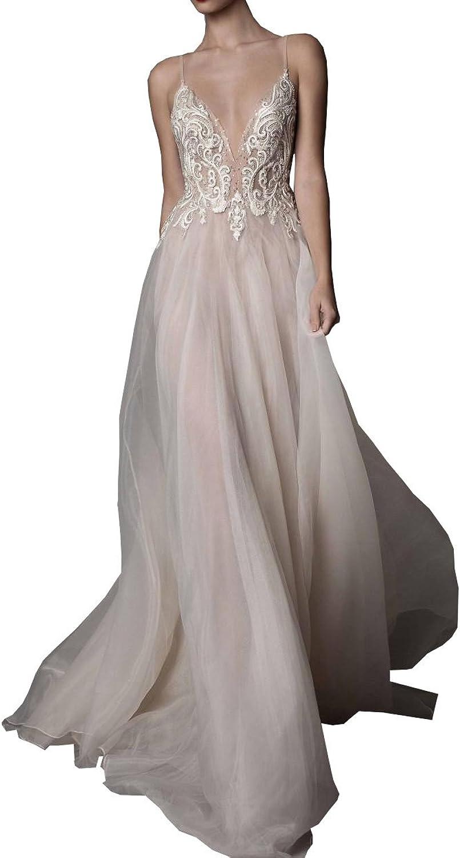 Ellystar Women's Mondern ALine Spaghetti Backless V Neck Tulle Wedding Dresses