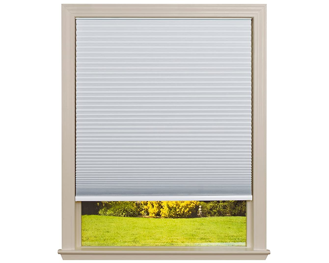 Easy Lift Trim-at-Home Cordless Cellular Blackout Fabric Shade White, 30 in x 64 in, (Fits windows 19