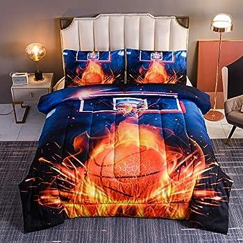 Btargot Basketball Fire Court Comforter Sets Twin for Boys Teens,3D Sports Bedding,Soft Microfiber Reversible Quilt with 2 Matching Pillow Shams
