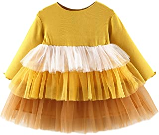 Xifamniy Infant Girls Long Sleeve Cake Dress Three-Layer Mesh Design Cotton Knit Dress