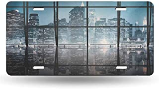 dsdsgog Personalized License Plates Modern,Modern New York City Scenery at Night with Skyscrapers Buildings Print, Black and Dark Blue 12x6 inches,for Car