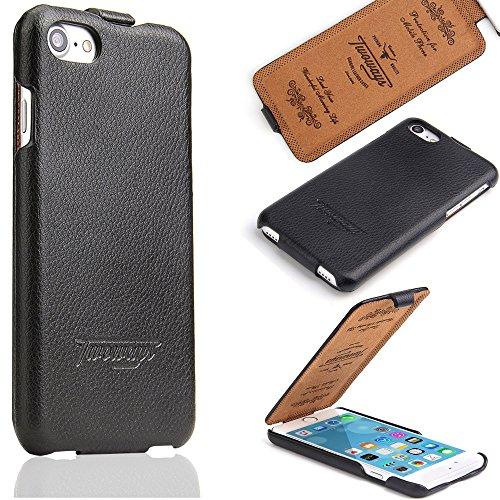 Twoways iPhone 7 Hülle, iPhone 8 Hülle, ideal entsprechender R&umschutz aus Leder für Apple iPhone 7 / iPhone 8 Cover (4,7 Zoll), edle schlanke Design Handyhülle Tasche Flip Hülle Schutzhülle - Schwarz