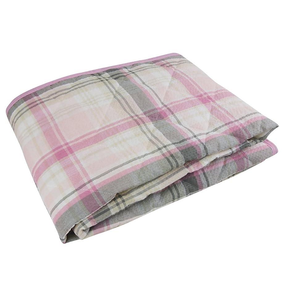 に向けて出発詳細に少ない敷きパッド ピロケース付き 100x205cm シングルサイズ しじら織り 綿100% 洗える 敷パット (ピンク)
