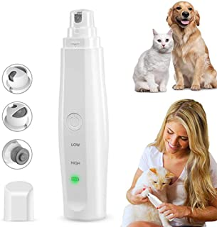 Dog Nail Grinder Clipper Cat Pet Nail File Trimmer Electric USB Charge Clippers Claw Care Low Noise with 3 Grinding Wheels...