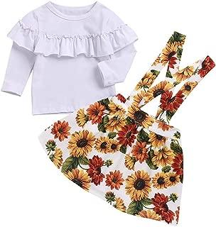 2pcs Toddler Baby Girls Skirt Set Sunflower Printed Suspender Skirt+Long Sleeve Ruffle T Shirt Top Outfit Clothes