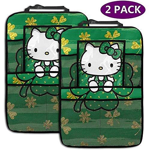 W-wishes Organisateur de Voiture de siège arrière - Accessoires de Voiture Lucky Hello Kitty, Protecteur de siège arrière Kick Mats avec Support de Tablette accru