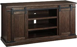 Ashley Furniture Signature Design - Budmore Large TV Stand - Sliding Barn Doors - 60 Inch - Rustic - Brown