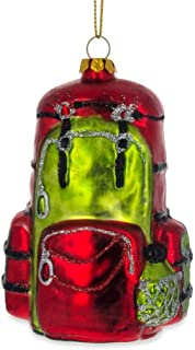 BestPysanky Hiking/Camping Travel Backpack Blown Glass Christmas Ornament 3.5 Inches