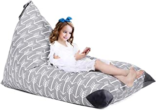 Evoio Toy Storage Bag, Stuffed Animal Storage Bean Bag Chair, Storage Bean Bag Sofa Solution,Create Comfy Lounger Bed for Kids and Adults, Soft Toy Organizer fits 200L/52 Gal (Arrows - Grey)