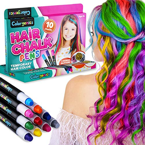 Colorgenics Hair Chalk for Girls, Temporary Hair Chalk for Kids, 10 Color Hair Chalk Pens & Glitters, Non-Toxic Washable Hair Color for Kids, Hair Dye for Girls, Great Birthday Gifts for Girls