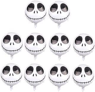 CheeseandU 10Pcs Jack Skellington Foil Balloons 18inch Round Nightmare Before Christmas Halloween Skeleton Skull Foil Balloons for Halloween Xmas Party Decoration Supplies Photo Props