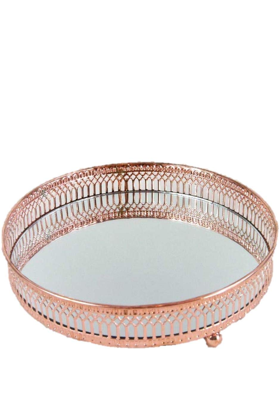 Four Seasons Tray Mirrored Rose Gold Copper Round Mirrored Tray Plate With Ornate Metal Trim Amazon Co Uk Kitchen Home