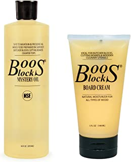 John Boos Block MYSCRM Essential Mystery Oil and Board Cream Care and Maintenance Set: Includes One 16 Ounce Bottle Mystery Oil and One 5 Ounce Tube Board Cream