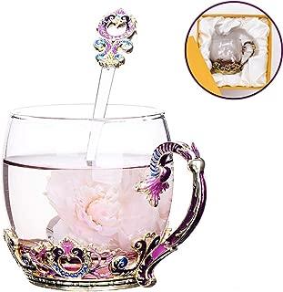 Glass Tea Cup Coffee Mug, Hand Blown Glass Drinking Mug Made of Lead-free Glass, Vintage Glass Cups with Spoon Set, Birthday Decoration Wedding Gift Ideas (Purple Short)