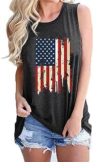 KCatsy Damlinne för sommar toppar USA-flagga 4 juli ärmlös t-shirt O-hals blus