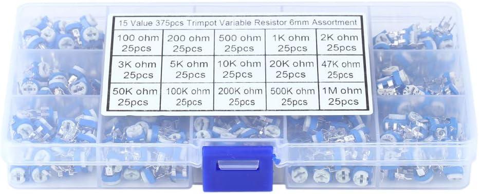 375 piezas de potenciómetro de resistencia variable, 15 valores, 100 ohm-1 Mohm, kit surtido de potenciómetro azul con caja