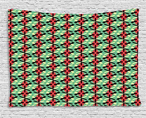 ABAKUHAUS Geométrico Tapiz de Pared, Rombos Y Líneas Discontinuas, para el Dormitorio Apto Lavadora y Secadora Estampado Digital, 150 x 100 cm, Multicolor