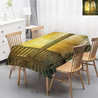 Print Series Rectangle Tablecloth Cotton and Linen Dust proof Absorption Table Cover for Photography Background Dining,47x63 Inch,Landscape,Mystic Balcony Fairytale Decor with Floral Swirl Antique Anc