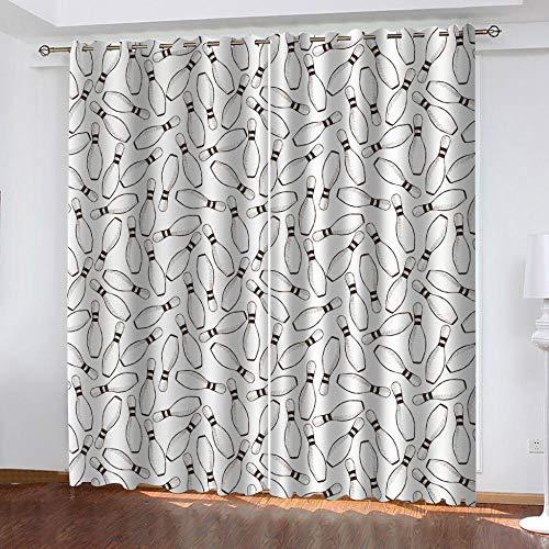 BWBJJ Cortina Salon Moderna Bolos Ojales Opaca Cocina Dormitorio Moderno Aislante termica Ventana habitacion niño oscurecimiento 2 x A140 x L175 cm