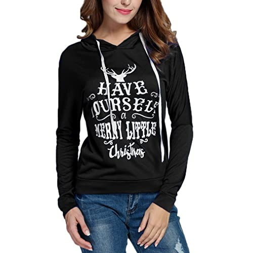 Women Casual Hooded Long Sleeve Christmas Letter Print Pullover Hoodies  Blouse Tops - Christmas Shirts For Juniors: Amazon.com