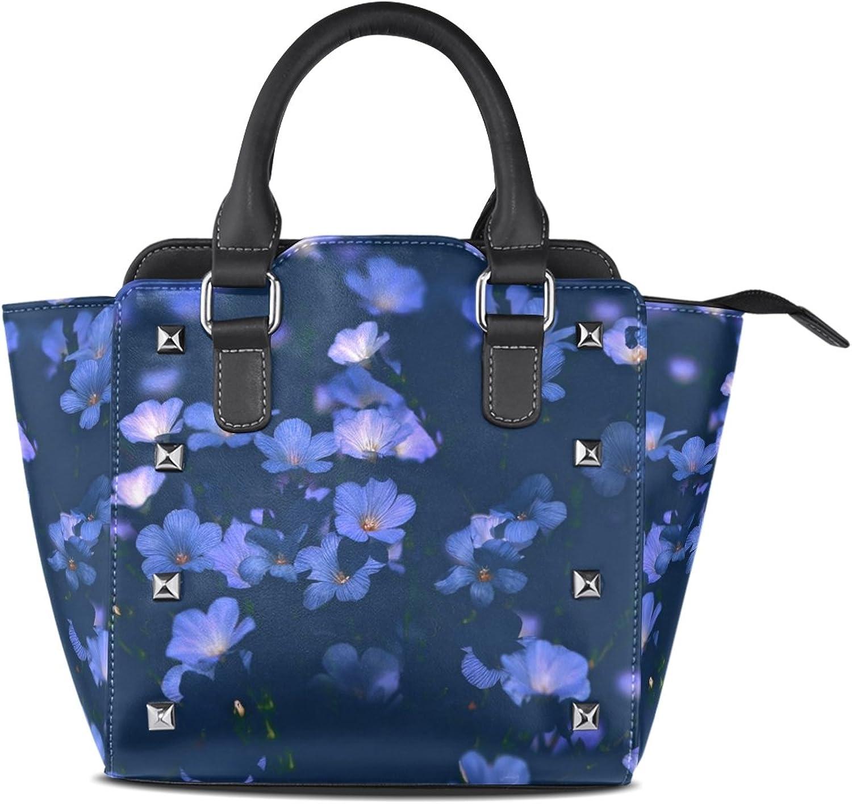 Women's Top Handle Satchel Handbag Moonlight Flowers Ladies PU Leather Shoulder Bag Crossbody Bag