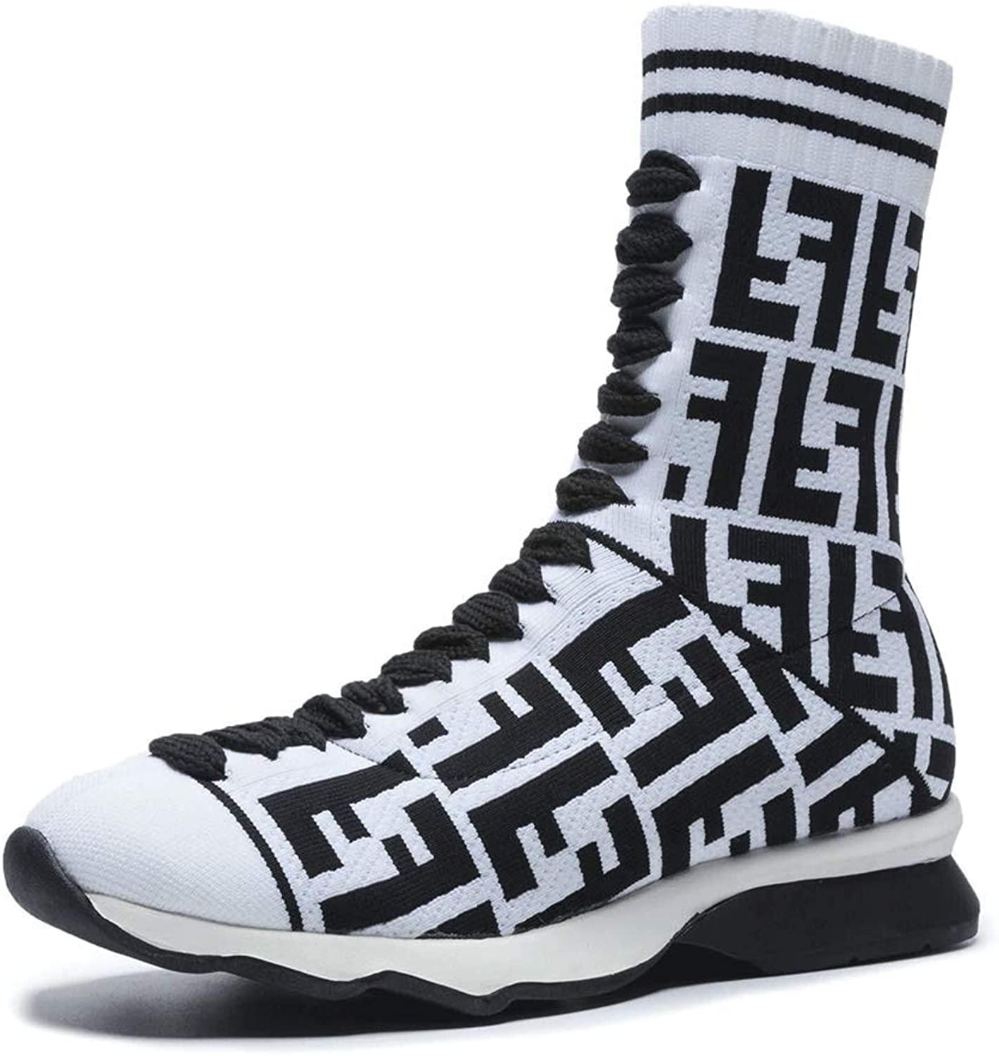 LIURUIJIA Womens Mens High-Top Stretchy Flyknit Sock Sneakers Pearl Studded Casual SZX-OXL130541