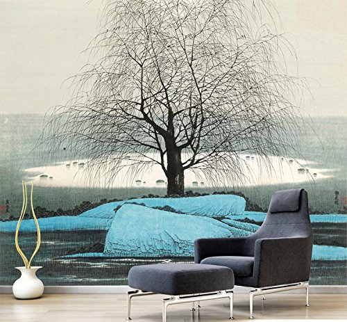 Wongxl Landschaftslandschaftsmalereisofa Im Wohnzimmer Fernsehhintergrund-Wandpapier Büro-Kleine Baumtapete 3D Tapete Hintergrundbild Fresko Wandmalerei Wallpaper Mural 150cmX100cm