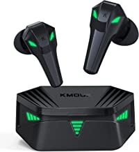 Gaming Earbuds, KMOUK Bluetooth 5.0 True Wireless Earbuds, USB-C Quick Charge, Cool Light Effects with Music & Game Modes,...