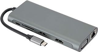 12-i-1-dockningsstation, USB3.0 snabb överföringstyp-C-dockningsstation, med RJ-45-port, Type C PD-laddningsport, USB3.0-p...