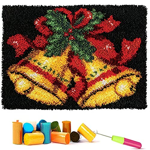 Latch Hook Kits Latch Hook Kits for Kids Adults Crocheting Rug with Printed Pumpkin Canvas DIY Rug Making Kits for Home Halloween Decoration 20.5X13.7Inch,F