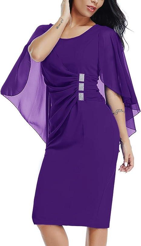 Dean Fast Damen Cocktailkleid Midi Kleid Mit Armeln Und Strass Details Amazon De Bekleidung