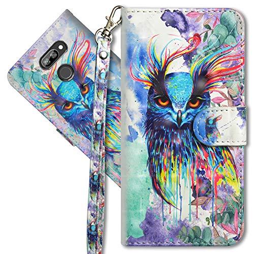 MRSTER LG K40s Handytasche, Leder Schutzhülle Brieftasche Hülle Flip Hülle 3D Muster Cover mit Kartenfach Magnet Tasche Handyhüllen für LG K40s. YX 3D Colorful Owl