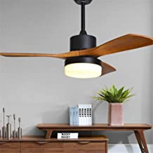 QUKAU Nordic Fan lamp 52 inch Three Hair Wood Ceiling Fan Light Remote Control Solid Wood Lamps Pendant Lighting lamp Ultra Quiet Restaurant Chandelier (Black)