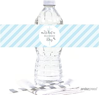 Andaz Press Baby Blue and Gray Boy Baptism Collection, Water Bottle Label Stickers, 20-Pack