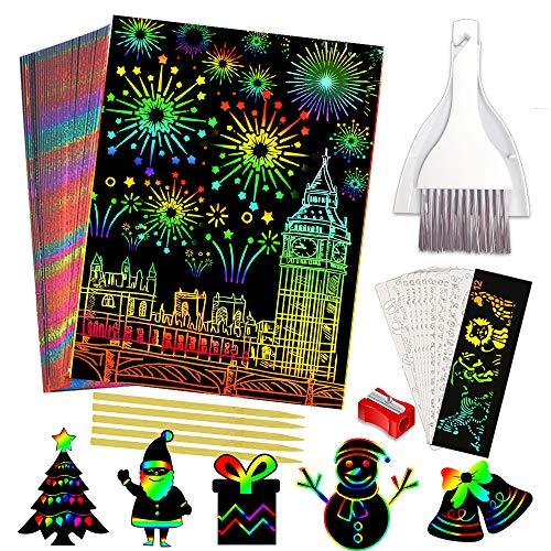 Vykor 50 Blatt Kratzkunst, Bastelarbeiten für Kinder, 12,4 x 18 cm, schwarz, magische Kratzkunst, Notiztafeln, Weihnachtsgeschenke für Kinder zum Malen lernen