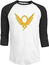 Mercy's Graffiti Logo hero's never die Men's 3/4 Sleeve Raglan baseball t-shirt Black