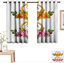 Orange and Pink Decor Curtains by Bunch of Roses and Rings with Bells Fresh Petals Green Leaves Waterdrips 55
