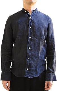 [フィナモレ]FINAMORE LORENZO VERONA バンドカラーリネンシャツ BLACK